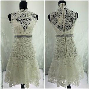 NWT Bardot Paris white turtle neck lace dress